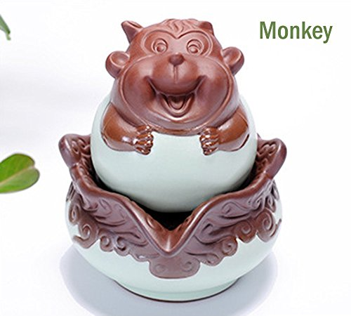 Longpro Chinese Zodiac Ceramic Tea Pot & Cup set, Kung fu Porcelain Tea Set, Service for One, Perfect for Teatime and Home Decor in Portable Gift Pack, Monkey