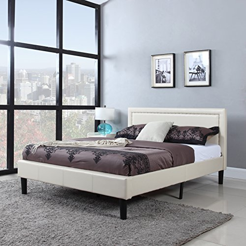 Classic Deluxe Bonded Leather Low Profile Platform Bed Frame with Nailhead Trim Headboard Design – Fits Full, Queen, & King Mattresses