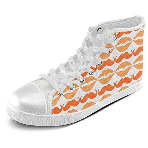 Artsadd Personnalisé Orange Hipster Moustache Et Lèvres Haut Chaussures De Toile Pour Les Hommes (model002)