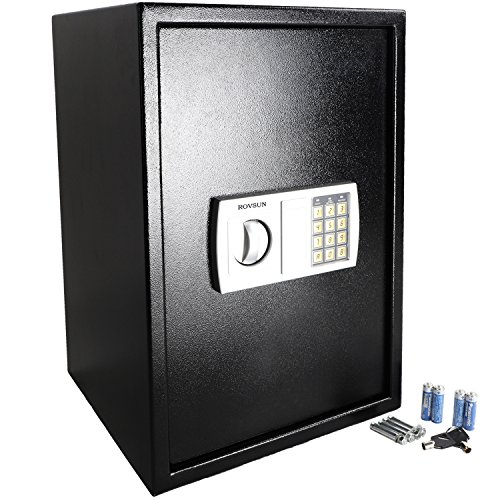 ROVSUN Digital Security Safe Box 1.8 CF Large Electronic Cabinet with Combination Lock &Solid Steel Construction, Great for Home Office Hotel Business Jewelry Money Passport, Battery Included