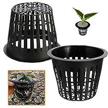 Pinovk 10pcs Black Plastic Hydroponic Planting Mesh Net Pot Baskets Garden Plant Grow Cup