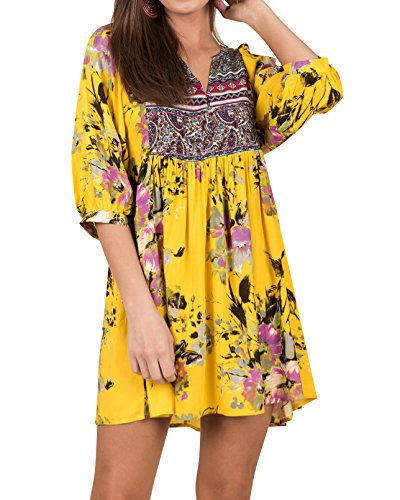 Midi 3 Womens Floral Summer Shirt Casual Sleeve Yellow 4 Dresses T Dress Chuanqi Boho YpzqRzw