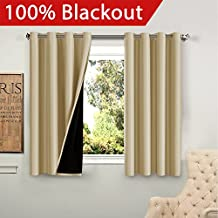 FlamingoP Full Blackout Wheat Curtains Faux Silk Satin with Black Liner Thermal Insulated Window Treatment Panels, Grommet Top (52 x 63 Inch, Set of 2)