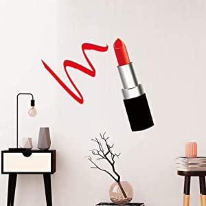 VOSAREA Lipstick Wall Stickers Girls Room Wall Decals Lipstick Wall Decor Stickers Art Mural Wall Decoration for Living Room Bedroom