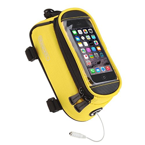 JOY COLORFUL Bicycle Bags Bicycle Front Tube Frame Cycling Packages 4.2,4.8,5.5 inches Touch Screen Mobile Phone Bags Professional Bicycle Accessories (Yellow, Small)