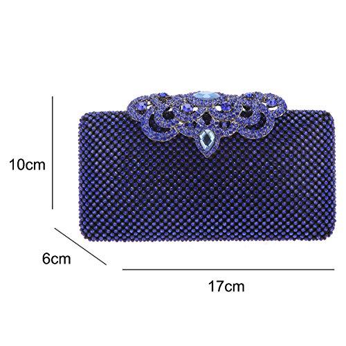 Crown Glitter Clutch Purse Rhinestone Bling Bag Bonjanvye Blue Crystal qPUSxnSA