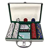 Trademark 200 13 Gm Pro Clay Casino Chips with Clear Cover Aluminum Case (Silver)