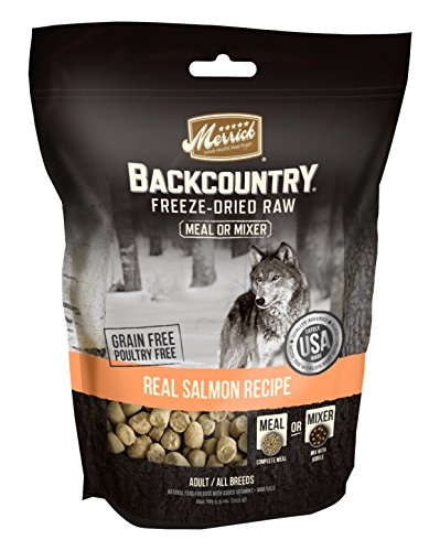 Merrick Backcountry Freeze-Dried Raw Real Salmon Recipe Meal or Mixer Grain Free Adult Dog Food, 5.5 oz.