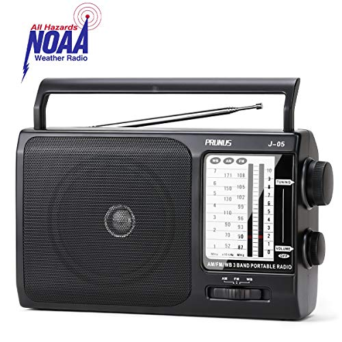 J-05 Transistor Radio Battery Operated AM FM Radio with Excellent Reception, Portable Weather NOAA Radio Powered by 3X D Cell Batteries or AC Power for Household and Outdoor by PRUNUS