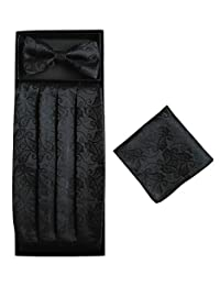 Simpowe Mens Matching Paisley Pocket Square Bow Tie and Cummerbund Set
