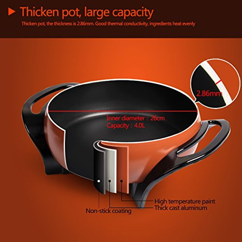 Liven Electric Skillet, Electric Pan, Electric Hot Pot, Cast Aluminum Pot Body with Non-stick Surface Dia 26cm Depth 8.5cm 1500W 120V DHG-263A …