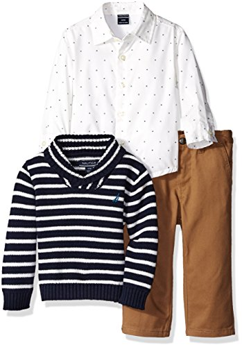 Nautica Baby Three Piece Set with Woven Shirt, Striped Shawl (Twill Clothing)