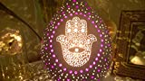 Hamsa Hand Purple Lilac Ultraviolet Gourd Lamp Night Light Amulet Talisman Protection Health Home Decor Wall Art Decal