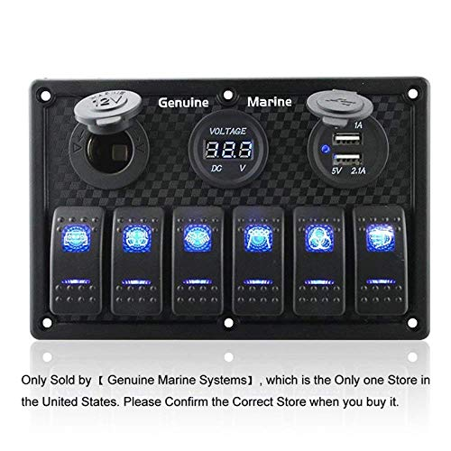 - 6 Gang Waterproof Rocker Switch Panel Blue LED Digital Display Voltmeter Dual 5V USB Charger Socket DC 12V Slot, 5 Pin Lighting Toggle Switches with 15A Fuse for RV Truck Car Marine Boat Vehicle