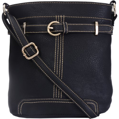 Eyecatch Shoulder Faux Buckle Ladies Belt Leather Messenger Body Cross Bag Fran Womens Black x1qwxAR6C