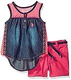 U.S. Polo Assn. Big Girls' Fashion Top and Short Set, Lace Yoke Tank Stretch Twill Short Multi, 10