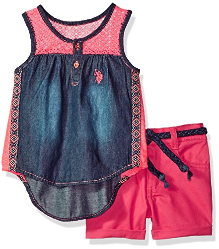 - U.S. Polo Assn. Girls' Toddler Fashion Top Set, lace Yoke Tank Stretch Twill Short Multi, 3T