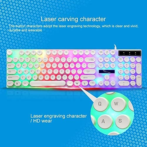 Color : White Durable Black G21 USB 104-keys Waterproof Floating Round Punk Keycap Colorful Backlight Mechanical Wired Keyboard Length: 1.3m