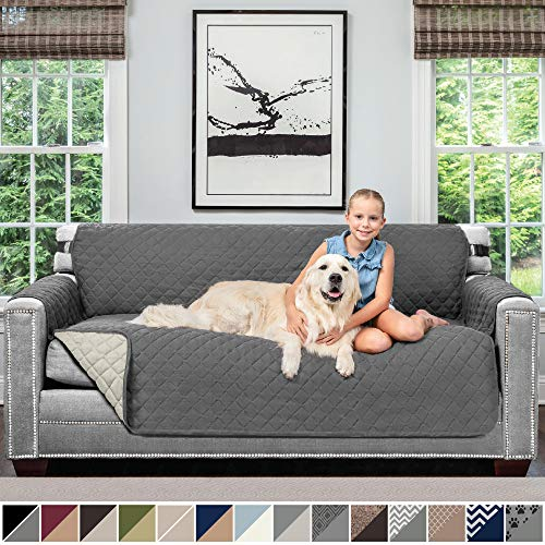 (Sofa Shield Original Patent Pending Reversible Sofa Slipcover, 2 Inch Strap Hook, Seat Width Up to 70 Inch Furniture Protector, Couch Slip Cover Throw for Pets, Kids, Cats, Sofa, Charcoal Linen)