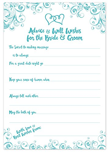 Aqua Turquoise Wedding Advice Cards - Advice & Well Wishes for the Bride & Groom - Prompted Fill In the Blank Style - Bridal Shower Game (50 Count) ()