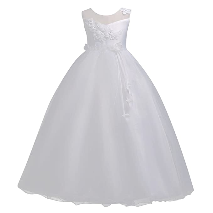 Qitun Niña Elegante Sin Mangas De Vestido Fiesta De Princesa Ceremonia Boda Coctel Vestidos Blanco 120