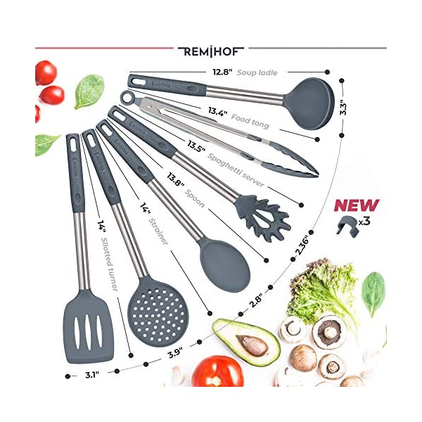 REMIHOF Silicone Kitchen Utensil Set - Nonstick Silicone and Stainless Steel Cooking Utensils - Spatula Turner Ladle… 2