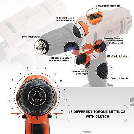 TOKUYI 18V Taladros Atornilladores Velocidad de 0-1500 RPM//min y 18 velocidades ajustables 1500 mAh Li-ion Bater/ía recargable con LED
