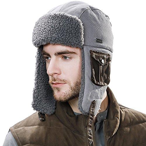 (SIGGI Ladies Mens Trapper Hat Aviator Earflap Hat Faux Fur Winter Hat Pilot Soviet Russian Ushanka Hats Cotton Grey)