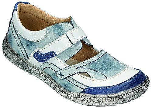 Pour D Chaussures Sportif Shoes weiss Bleu Femme Velcro Miccos Jeans 1xqpEvAn