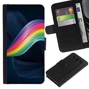 Planetar® Modelo colorido cuero carpeta tirón caso cubierta piel Holster Funda protección Para SAMSUNG Galaxy S3 III / i9300 / i747 ( Rainbow Swirl )