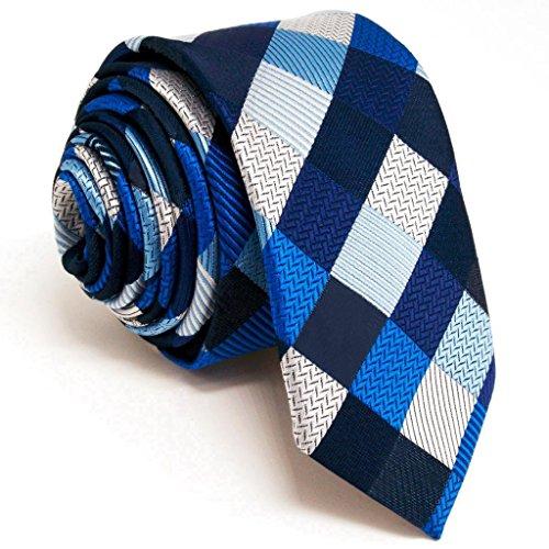 Shlax&Wing Slim Necktie Ties Checked Blue Silver Black Men Skinny Neckties 100% Silk