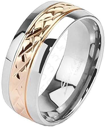 TTNR-0125 Solid Titanium Strip Rose Gold IP Band Ring