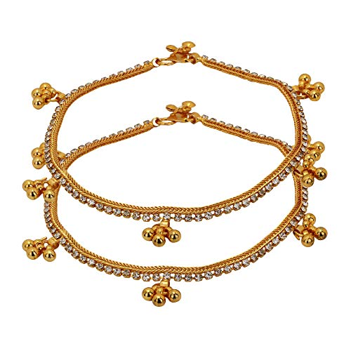 Jwellmart Women's Indian Ethnic Collection Designer Gold Plated Anklets/Pajeb / Payal (Style 3) ()