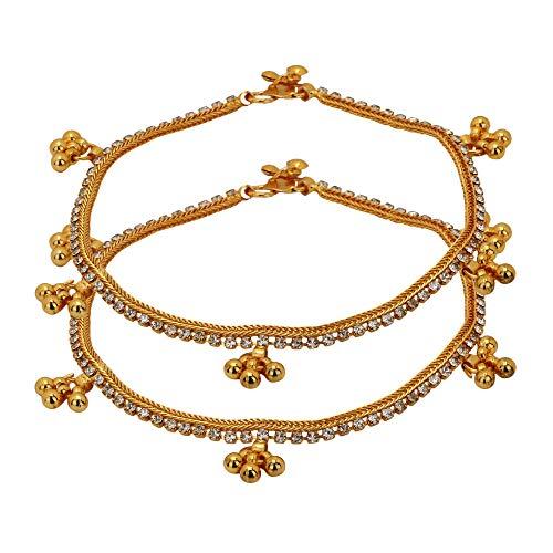 Gold Anklet Designer (Jwellmart Women's Indian Ethnic Collection Designer Gold Plated Anklets/Pajeb / Payal (Style 3))