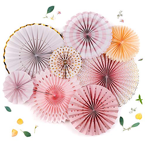 (PapaKit Origami Wall Decoration Set (8 Assorted Round Paper Fans) Birthday Party Baby Shower Wedding Events Decor | Creative Art Design Pattern (Sparkling Pink Rose Blush, 8 Piece Set))