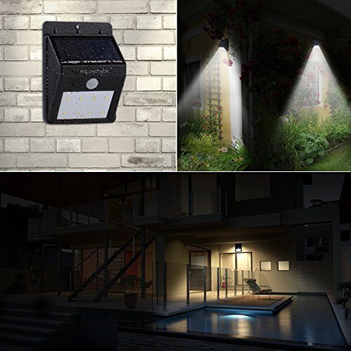 Solar Powered Security Floodlights   Motion Activated Lights  Wireless  Outdoor Light  80 Lumen Ultra Bright LEDs  Peel And ...