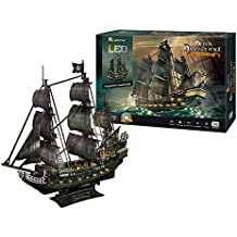 CubicFun L520h Queen Anne's Revenge Pirate Ship Model Kit (with LEDs) 3d Puzzle, Large 340 Pcs