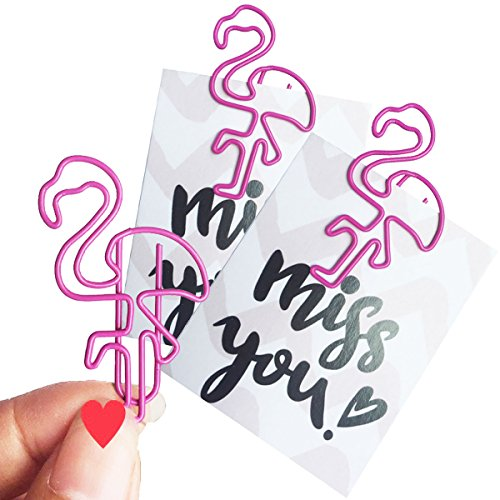 Paper Clip 35 PCS Flamingo Bookmark Clips Pink Vinyl Coated Page Markers (Flamingo Clip)