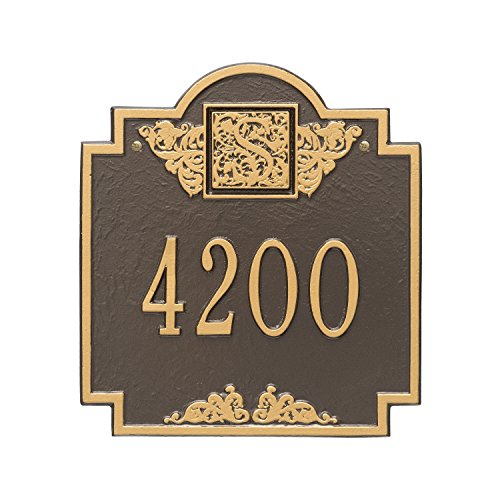(Whitehall Products Monogram Standard Square Bronze/Gold Wall 1-Line Address Plaque)
