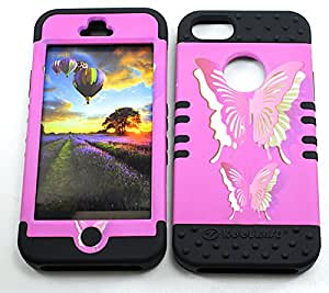SHOCKPROOF HYBRID CELL PHONE COVER PROTECTOR FACEPLATE HARD CASE AND BLACK SKIN WITH STYLUS PEN. KOOL KASE ROCKER FOR APPLE IPHONE 5 5S BUTTERFLIES BK-TE573