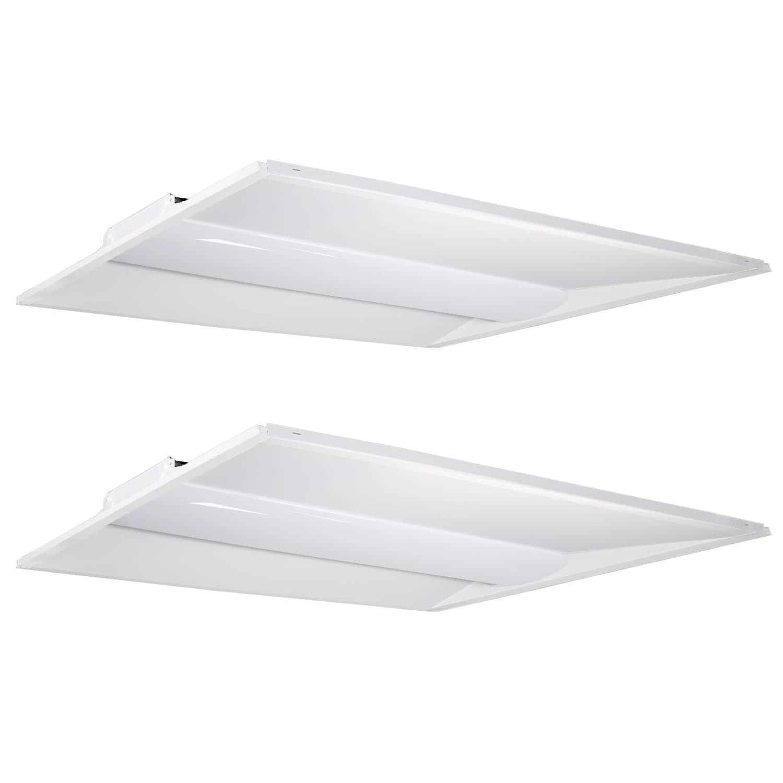Hykolity Architectural LED Troffer 2x4 FT 50W 6500lm 4000K, 0-10V Dimmable LED Volumetric Troffer, Drop Ceiling Panel Light Eligible for Rebate Program[3 Lamp 4FT 32W T8 Fluorescent Equivalent]-2Pack