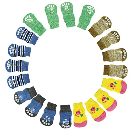 UPC 639667364103, Binmer(TM) Newest Hot Sale 4Pcs Cute Fashion Puppy Dogs Pet Knits Socks Anti Slip Skid Bottom(random Color) (XL)