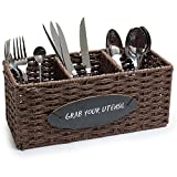 MyGift 3-Compartment Woven Seagrass Utensil Caddy Basket with Chalkboard Label, Brown