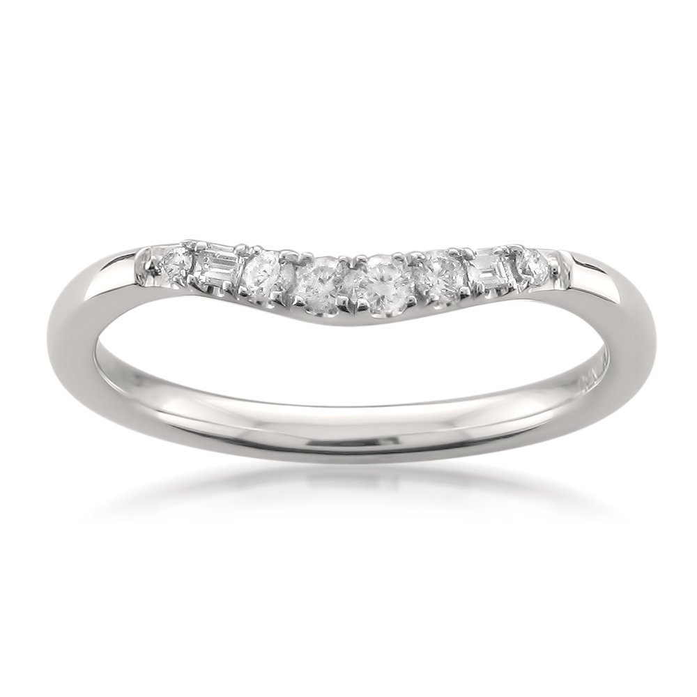14k White Gold Baguette & Round Diamond Curved Wedding Band Ring (1/7 cttw, H-I, SI2-I1), Size 5 by La4ve Diamonds