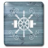 3dRose lsp_261838_2 Ships Wheel with Scrolls in White on Blue Weatherboard-Not Real Wood Toggle Switch, Mixed