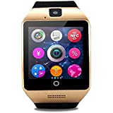 Bluetooth Smart Watch Touch Screen Q18 Smartwatch with Camera SIM TF Card Slot Pedometer Sleep Monitor for Android IOS Phone (Gold)