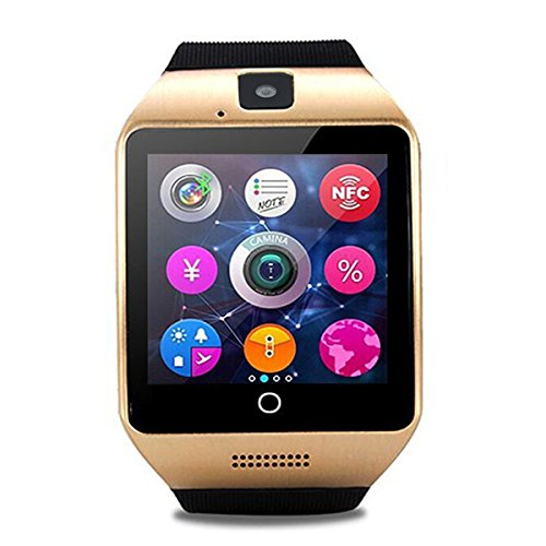 Bluetooth Smart Watch Touch Screen with Camera, ZRSJ smartwatches with SIM Card Slot for Android Samsung Smartphones Kids Men Women (GOLD)