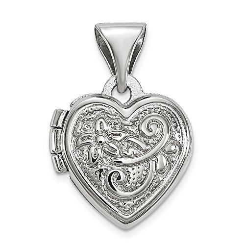 Sterling Silver Rhodium-Plated Small Scrolled Heart Locket -
