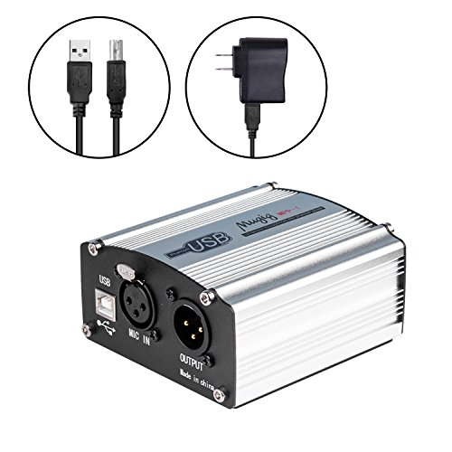 Phantom Power Supply, Mugig 48V Micropower for Condenser Microphone, 1-Channel with Power Adapter, Universal Spec - Silver