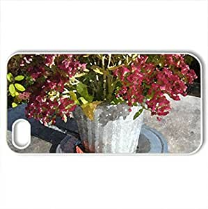 Autumn decorated pot - Case Cover for iPhone 4 and 4s (Flowers Series, Watercolor style, White)